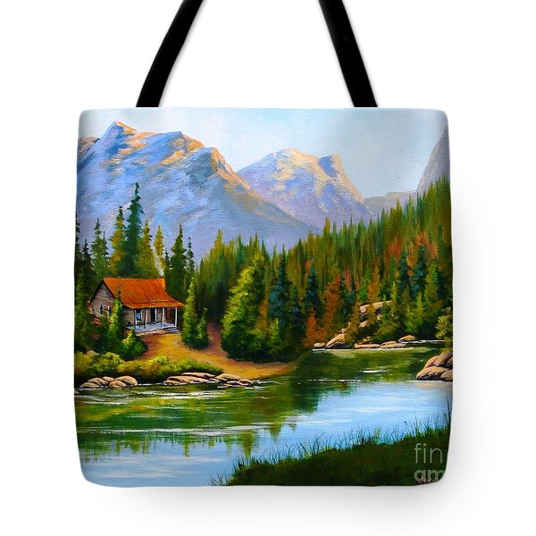 Lakeside Cabin Tote Bag
