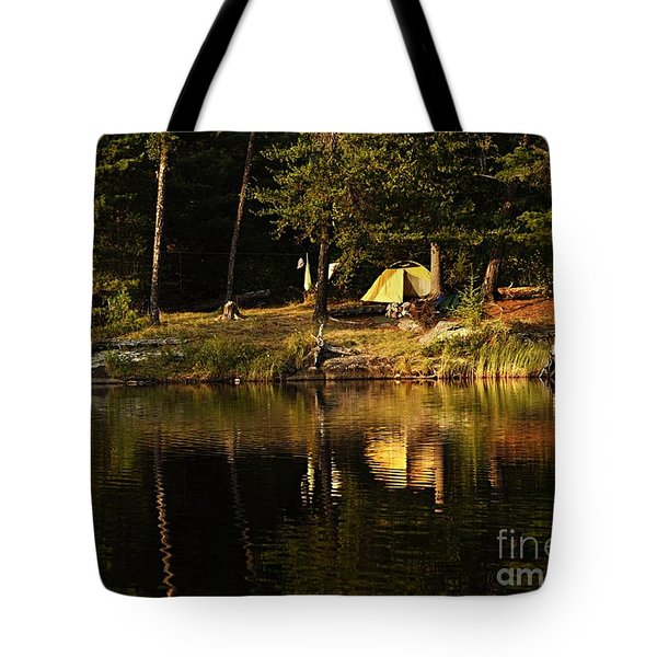 Tote Bag featuring the photograph Lakeside Campsite by Larry Ricker