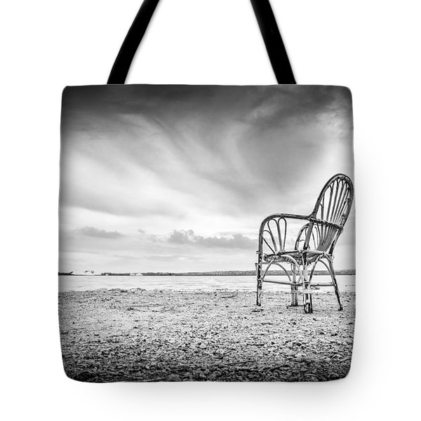 Tote Bag featuring the photograph Lakeside Chair. by Gary Gillette