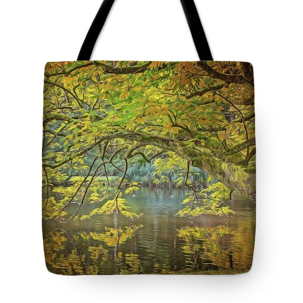 Tote Bag featuring the painting Lakeside by Harry Warrick
