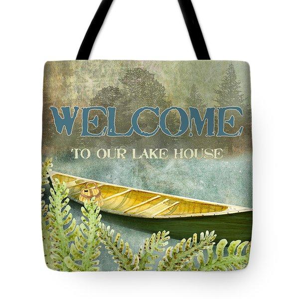 Lakeside Lodge - Welcome Sign Tote Bag
