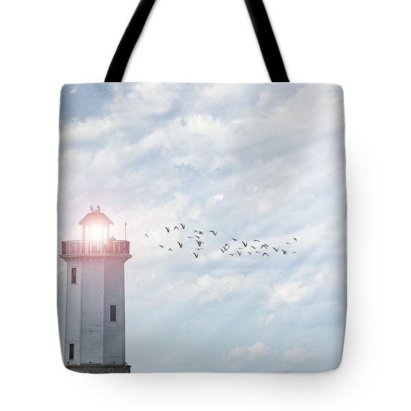 Tote Bag featuring the photograph Lakeside Park Lighthouse by Joel Witmeyer