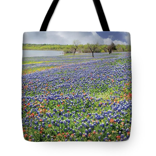 Tote Bag featuring the photograph Lakeside Texas Bluebonnets by David and Carol Kelly