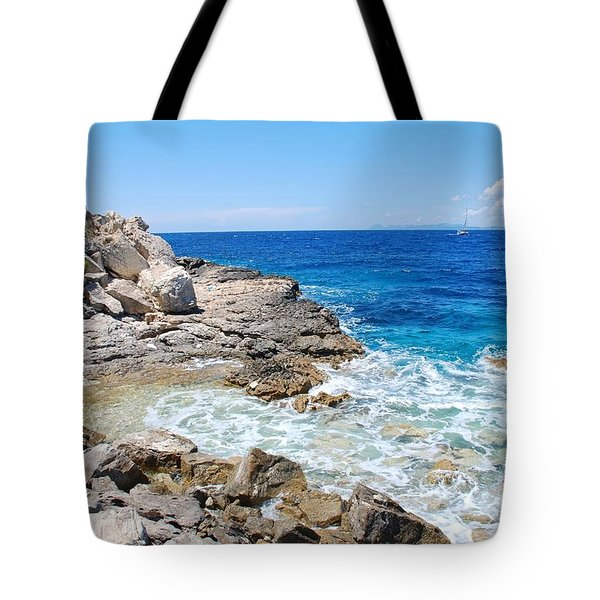 Lakka Coastline On Paxos Tote Bag