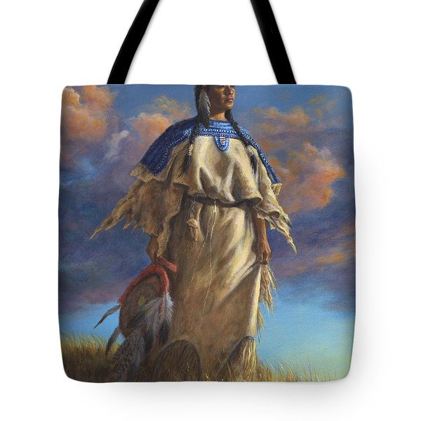 Tote Bag featuring the painting Lakota Woman by Kim Lockman