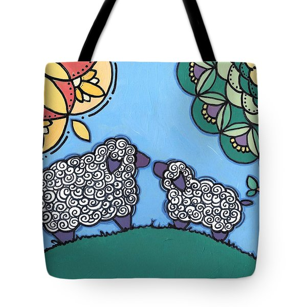 Lamb And Mama Sheep Tote Bag