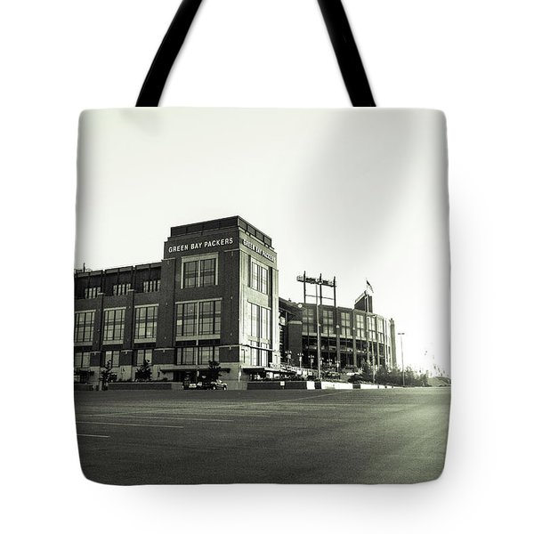 Tote Bag featuring the photograph Lambeau Field Minimalistic by Joel Witmeyer