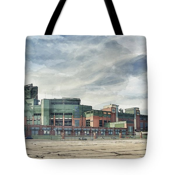 Tote Bag featuring the photograph Lambeau Field Painterly Edition by Joel Witmeyer