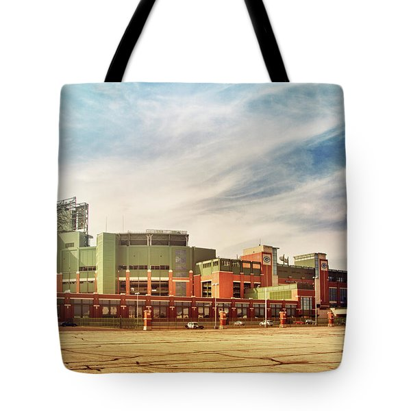 Tote Bag featuring the photograph Lambeau Field Retro Feel by Joel Witmeyer
