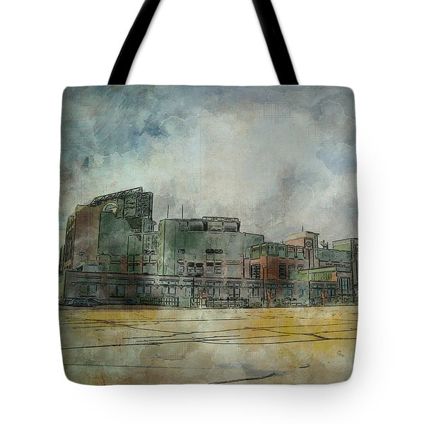 Tote Bag featuring the photograph Lambeau Field Watercolor by Joel Witmeyer