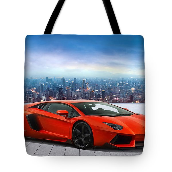 Lambo Cityscape Tote Bag by Peter Chilelli