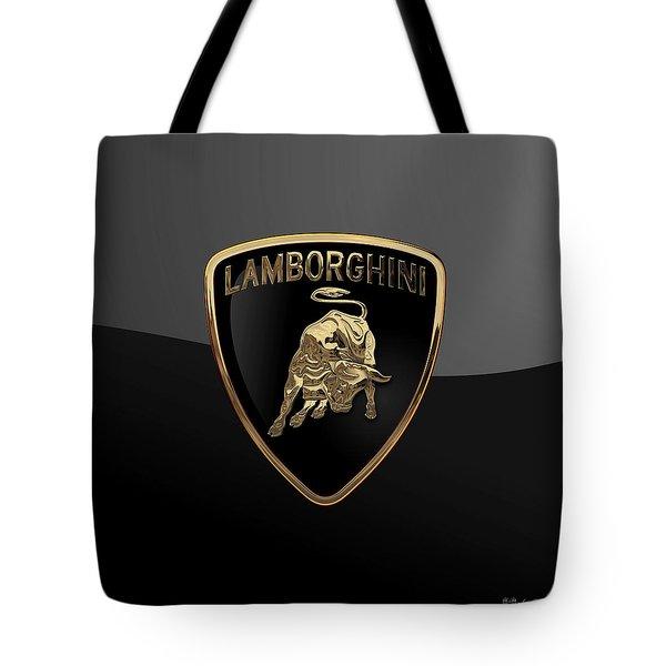 Lamborghini - 3d Badge On Black Tote Bag