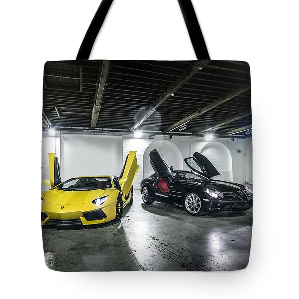 Lamborghini Aventador And Mercedes Slr Tote Bag