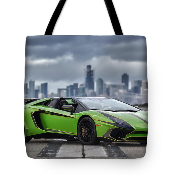 Tote Bag featuring the photograph #lamborghini #aventadorsv #superveloce #roadster #print by ItzKirb Photography