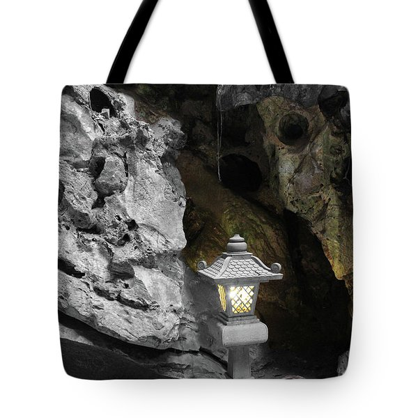 Lamp In Marble Mountain Tote Bag