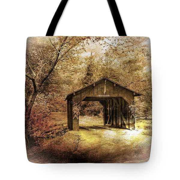 Tote Bag featuring the photograph Lamplighter Covered Bridge by Judy  Johnson