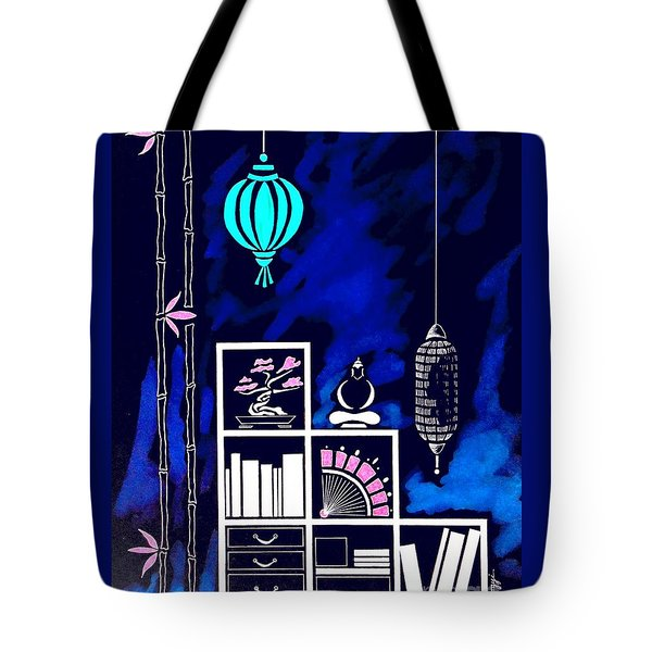 Lamps, Books, Bamboo -- Negative Tote Bag