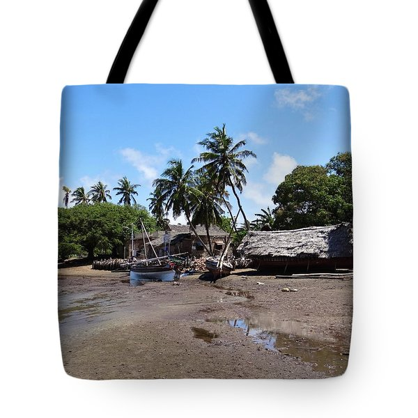 Lamu Island - Wooden Fishing Dhows And Village At Rear 1 Tote Bag