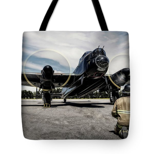Tote Bag featuring the photograph Lancaster Engine Test by Brad Allen Fine Art