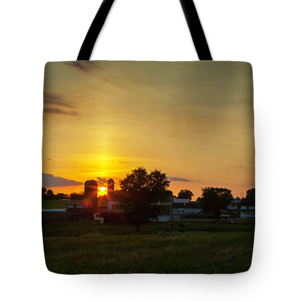 Lancaster Farm Sunset Panorama Tote Bag