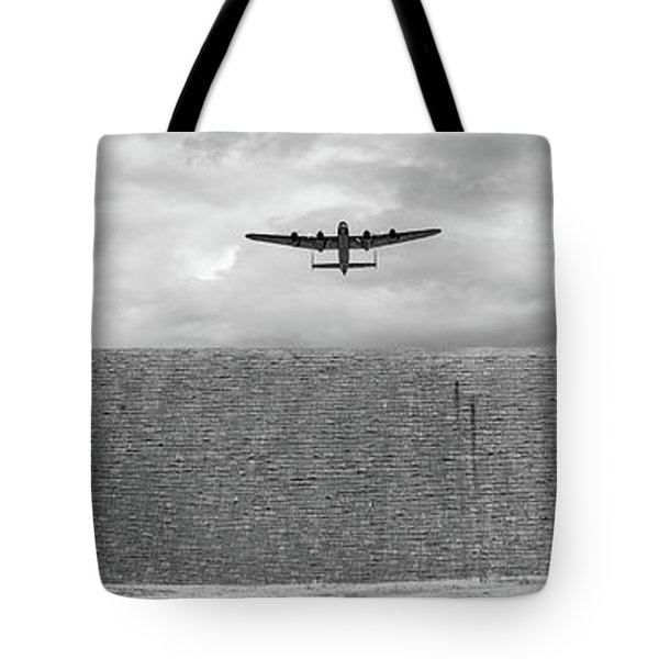 Tote Bag featuring the photograph Lancaster Over The Derwent Dam Bw Version by Gary Eason