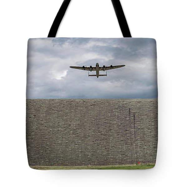 Tote Bag featuring the photograph Lancaster Over The Derwent Dam by Gary Eason