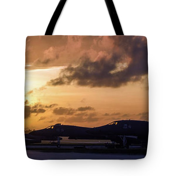 Tote Bag featuring the photograph Lancer Flightline by Peter Chilelli