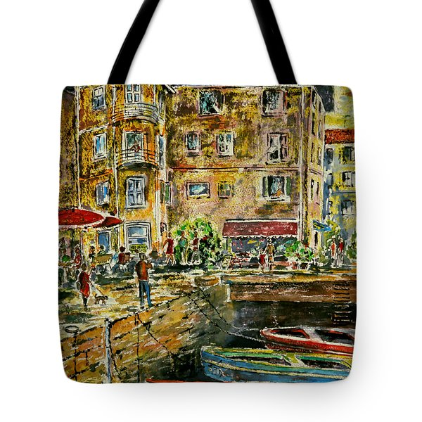Land And Water And People Therebetween Tote Bag