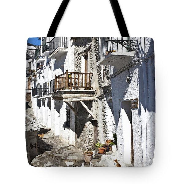 Tote Bag featuring the photograph Street In Capileira Puebla Blanca by Heiko Koehrer-Wagner