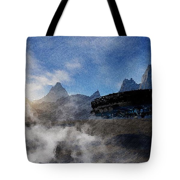Tote Bag featuring the painting Landing Site by Mark Taylor