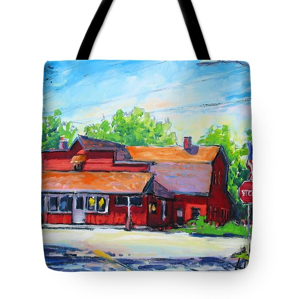Tote Bag featuring the painting Landmark Six by Les Leffingwell