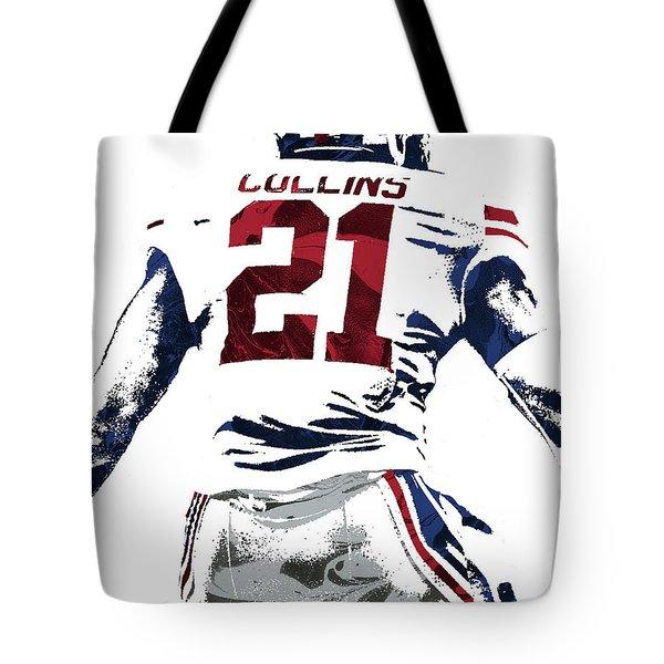 Tote Bag featuring the mixed media Landon Collins New York Giants Pixel Art 1 by Joe Hamilton