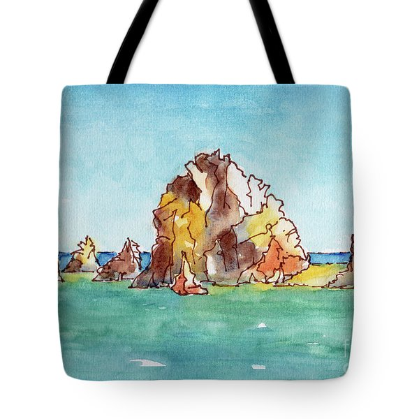 Tote Bag featuring the painting Lands End Cabo San Lucas Mexico by Pat Katz