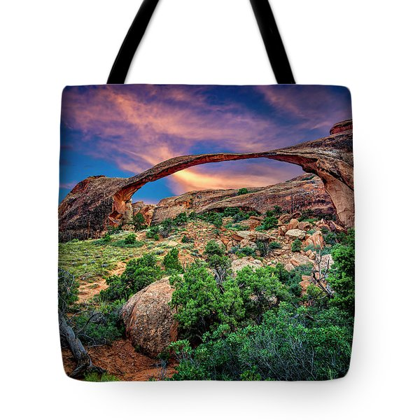 Landscape Arch At Sunset Tote Bag