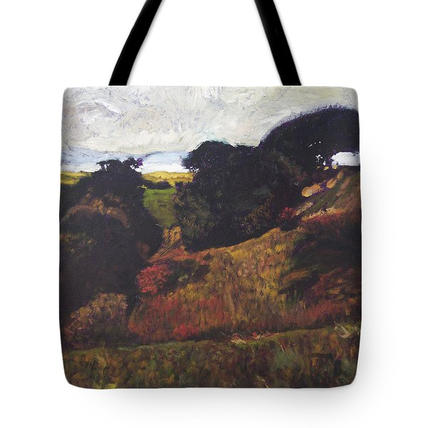 Tote Bag featuring the painting Landscape At Rhug by Harry Robertson