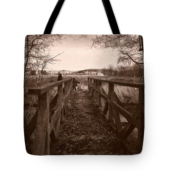 #landscape #bridge #family #tree Tote Bag by Mandy Tabatt