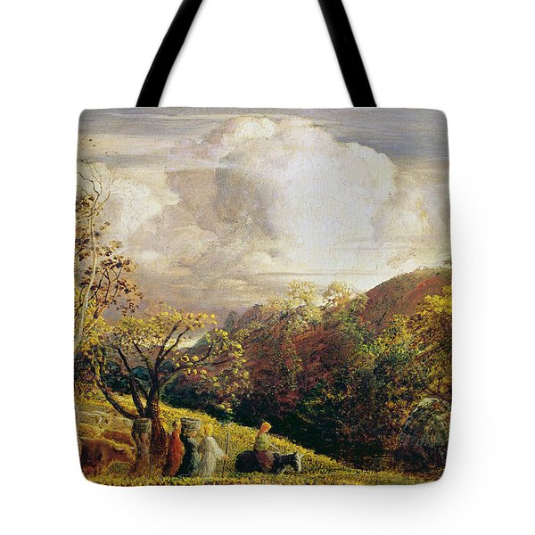 Landscape Figures And Cattle Tote Bag by Samuel Palmer