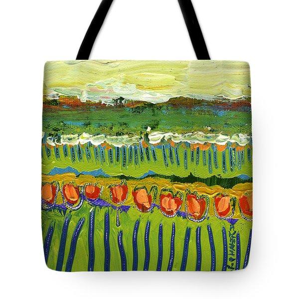 Landscape In Green And Orange Tote Bag