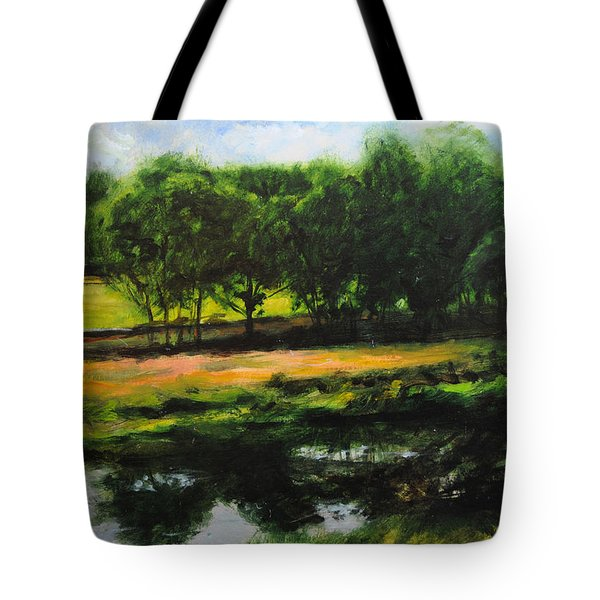 Tote Bag featuring the painting Landscape In North Wales by Harry Robertson