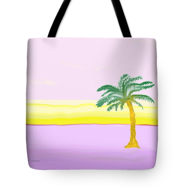 Landscape In Pink And Yellow Tote Bag