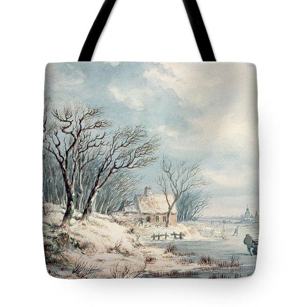 Landscape In Winter Tote Bag by JJ Verreyt