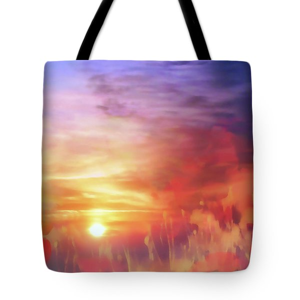 Landscape Of Dreaming Poppies Tote Bag