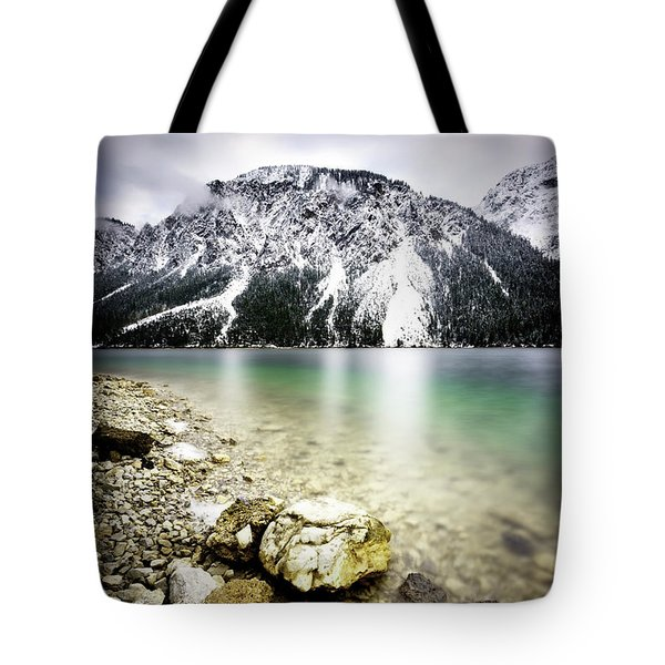 Landscape Of Plansee Lake And Alps Mountains During Winter, Snowy View, Tyrol, Austria. Tote Bag