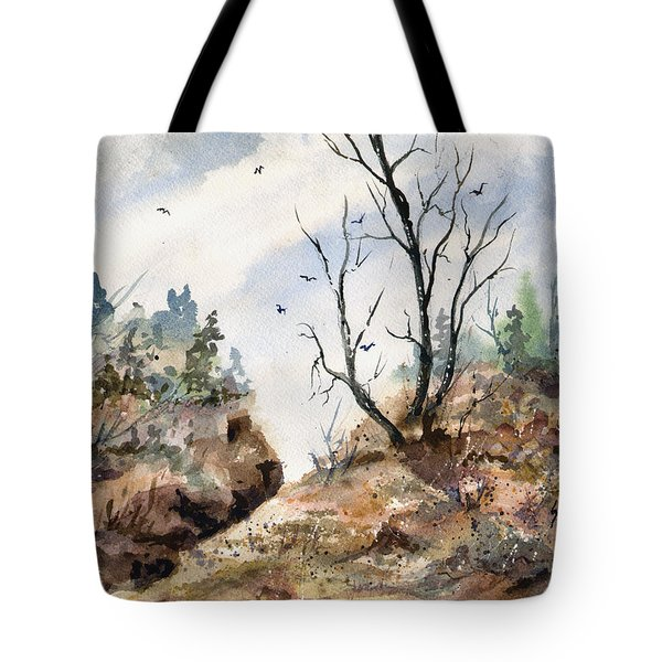 Tote Bag featuring the painting Landscape by Sam Sidders