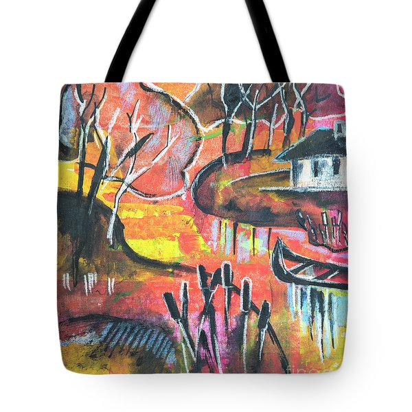 Tote Bag featuring the mixed media Landscape Seasonal Illustration by Ariadna De Raadt