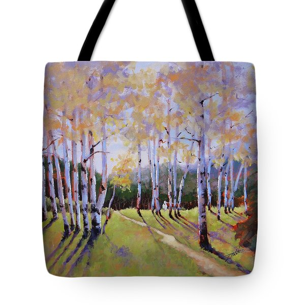 Tote Bag featuring the painting Landscape Series 3 by Laura Lee Zanghetti