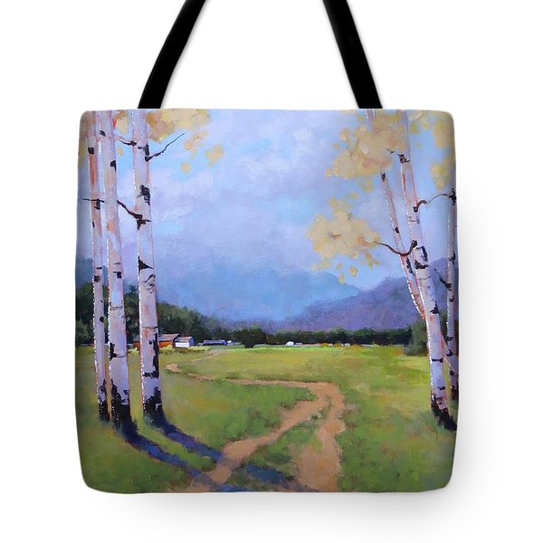 Tote Bag featuring the painting Landscape Series 4 by Laura Lee Zanghetti