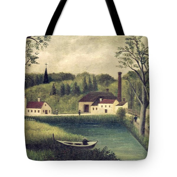Landscape With A Fisherman Tote Bag by Henri Rousseau