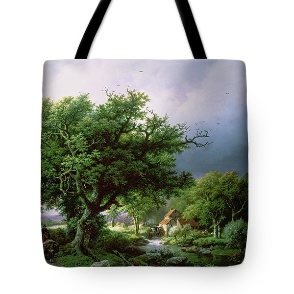 Landscape With A Mill Tote Bag by Barend Cornelis Koekkoek