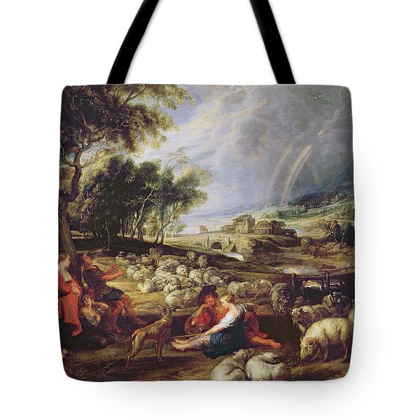 Landscape With A Rainbow Tote Bag by Rubens
